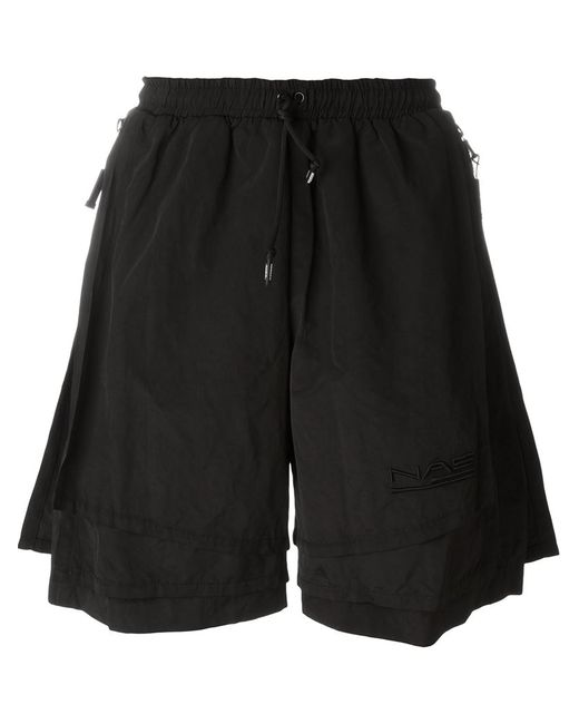 Nasir Mazhar | Men's Black Two-Layered Shorts