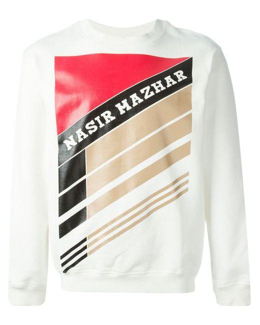 Nasir Mazhar | Men's White Graphic Logo Print Sweatshirt