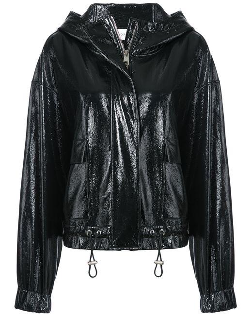 Wanda Nylon | Women's Black Patent Hooded Jacket