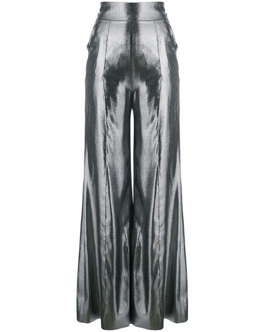 Wanda Nylon   Silver High Waisted Palazzo Pants Women