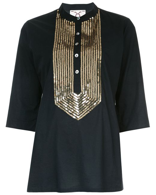 Figue | Women's Black Jasmine Blouse Xl