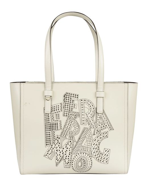 Salvatore Ferragamo | Women's White Leather Shopper Tote