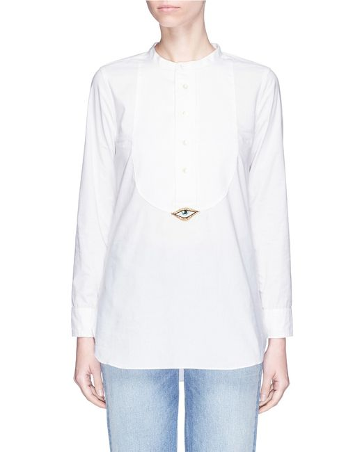 Figue | Women's White Evil Eye Tux Beaded Patch Cotton Shirt