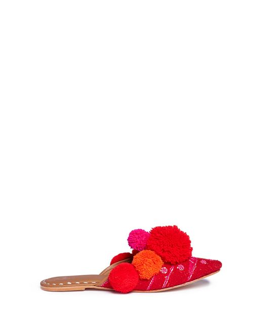 Figue | Women's Red Iris Pompom Embroide Leather Slides
