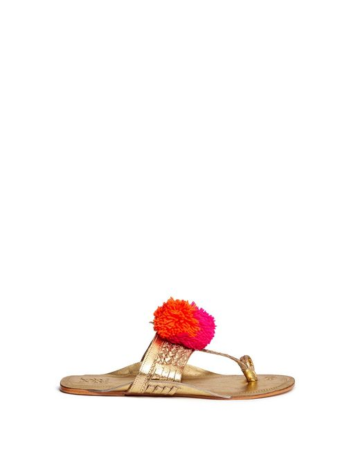 Figue | Women's Silver Leo Pompom Braided Leather Thong Sandals