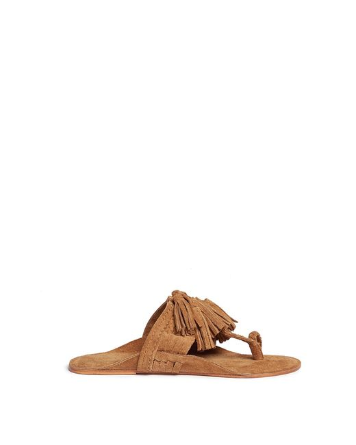 Figue | Women's Brown Scaramouche Tassel Braided Leather Thong Sandals
