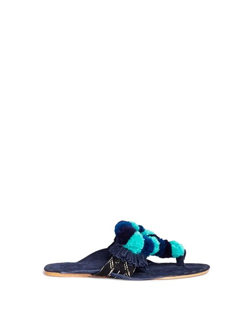 Figue | Women's Dark Blue Salome Mirror Pompom Embroidered Leather Thong Sandals