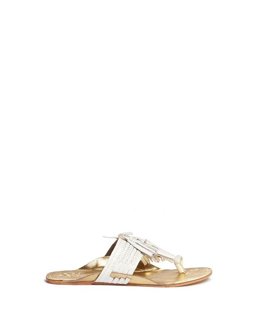 Figue | Women's White Scaramouche Tassel Braided Leather Thong Sandals