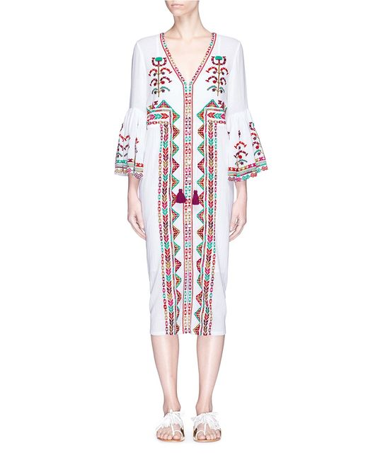Figue | Women's Red Minette And Ethnic Stripe Embroidered Dress
