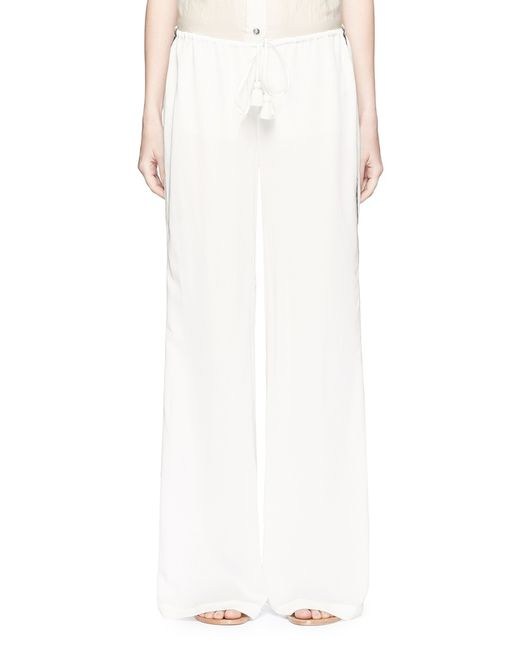 Figue | White Simone Chevron Trim Wide Leg Pants