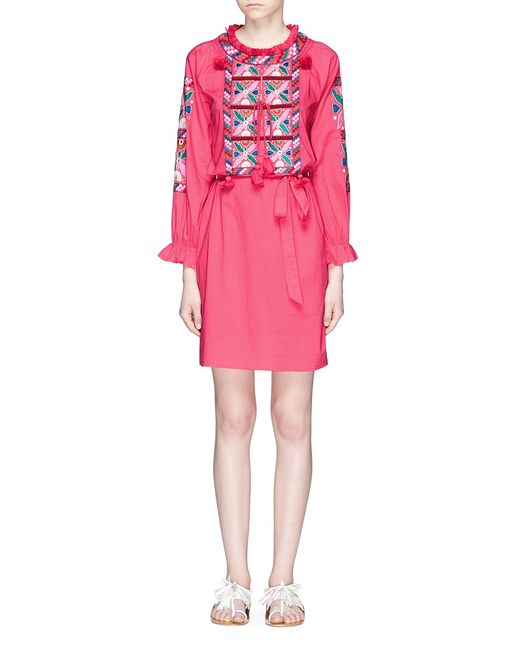 Figue | Women's Pink Lou Lou Tassel Embroidered Dress