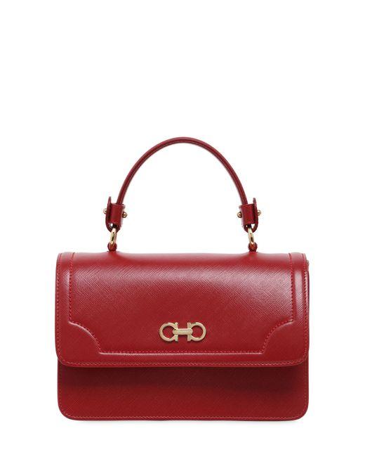 Salvatore Ferragamo | Women's Red Seila Saffiano Leather Top Handle Bag