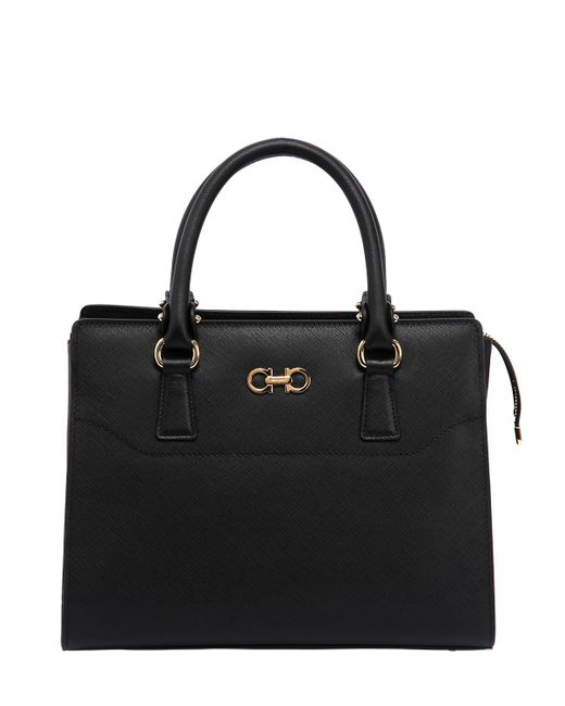 Salvatore Ferragamo | Women's Black Beky Saffiano Leather Top Handle Bag