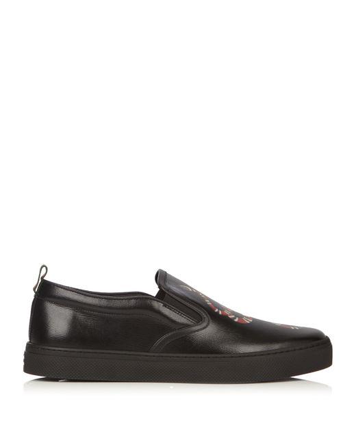 Gucci Menu0026#39;s Black Snake-Print Leather Slip-On Trainers ...
