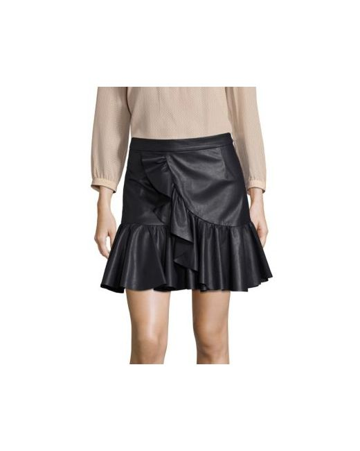 s navy faux leather ruffle skirt