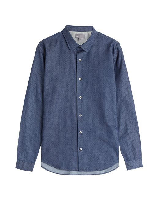 Vince | Dark Blue Microdot Chambray Button-Down Gr. M